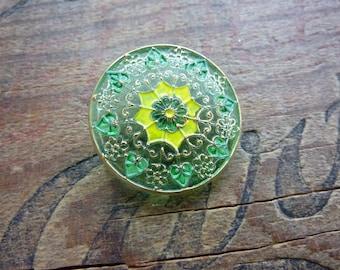 Czech Glass Button Decorative Button Green Yellow Gold Vintage Button