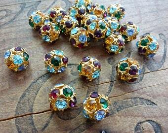 Gold Rhinestone Ball Beads Vintage FC109 (2)