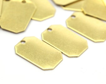 Brass Octagon Tag, 20 Raw Brass Octagon Stamping Tags,findings (16x10mm) D032