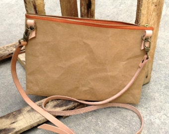 Kraft fabric paper clutch bag zipper with detachable shoulder strap