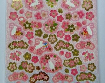 Sakura Cherry Blossom Flowers, Petals, Bunny Rabbits & Temari Balls Japanese Washi Paper Stickers / Seals Sheet Large