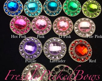 5 Acrylic VINTAGE Rhinestone buttons size 25mm U choose colors