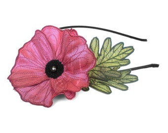 Cerise Pink Icelandic Poppy Flower Headband- You Choose Headband, Clip, or Brooch- Embroidered Silk Flower Fascinator with Leaves