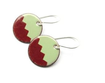Modern Earrings - Dark Red and Green Enamel Earrings - Modern Jewelry