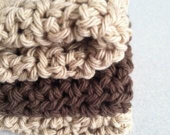 crochet cotton dishcloths washcloth neutral colors  trio set of three