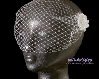 Bridal Veil, Bandeau Bridal Veil, Birdcage Veil, Blusher Veil, Face, Veil, Vintage Inspired Veil, Ready-to-Go Veil