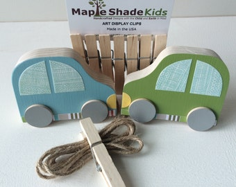 Car Art Display Clips - Green and Blue