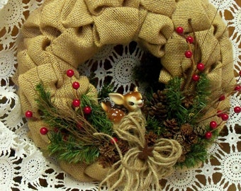 Bambi On a Burlap Wreath, Oregon Cones, Greens and Berry Twigs
