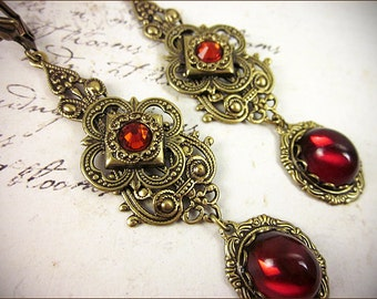 Red Ruby Renaissance Earrings, Medieval Earrings, Borgias, Medieval Jewelry, Tudor Earrings, Bridesmaid Earrings, SCA, Avalon