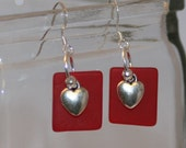 Red Square Glass Earrings Heart charms Sterling silver