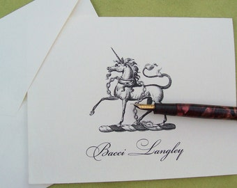 Unicorn Heraldic Personalized Fantasy Equestrian Note Cards Monogrammed Stationery Classic Traditional Black Ivory Set 10 Notecard Mythology