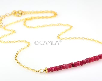 SALE Gold Ruby Bar Necklace