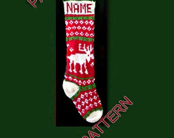 Hand knit Christmas stocking,  pattern only, moose and snowflake