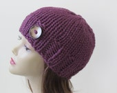Chunky Knit Hat Winter Hat Chunky Knit Beanie Womens Hat Teens Hat - Fig Purple with Button Accent  - Ready to Ship - Direct Checkout