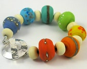 Spring Lampwork Glass Bead Bracelet - personalised with date