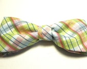 Multicolor Spring Lime Pink White Plaid New Pretied Bow Tie Adjustable Neckband Men Boys Handcrafted Gustys Bowtie Pastel
