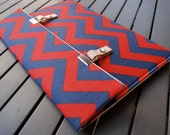 11 MacBook Air Cover / Microsoft Surface Pro 4 Case / 13 MacBook Air Case / 12 MacBook Cover - Chevron Navy Blue and Red