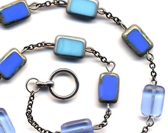 Blue Necklace. Sky Blue Rare Czech Glass Necklace. Mod Blue One of a Kind Necklace. Handmade Jewelry by AnnaArt72