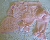 Sweety Knitted Christening/ Coming Home Ensemble. Newborn Suit. Baby Girl Outfit. Four Pces. Set.