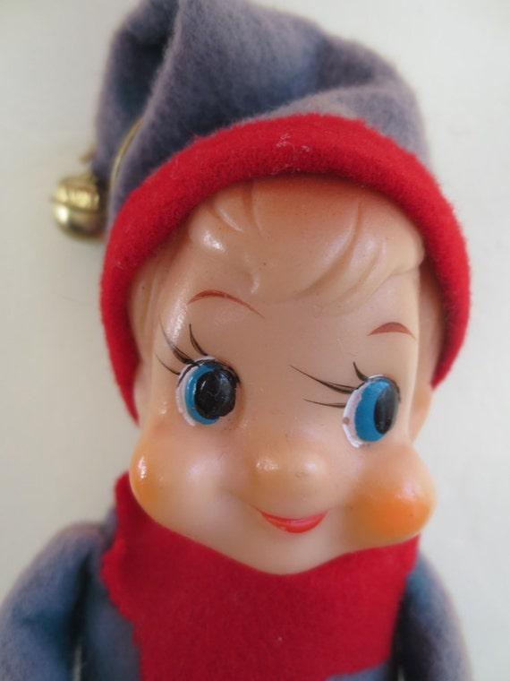 Vintage elf knee hugging elf cute pixie christmas decoration made