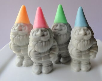 Garden Gnome Soap Gift Set - All 4 Gnomes - Green, Pink, Orange and Blue - Goat's Milk Soap - Novelty - Teen - Gift for Her - Mothers day