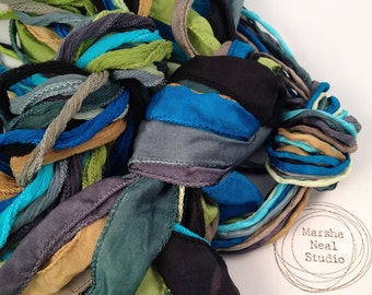 Silk Ribbon - Hand Painted Silk - Silky Ribbon - Fairy Ribbon - Jewelry Supplies - Wrap Bracelet - Craft Supplies - Blue Green Waters 3 Type