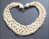 Vintage White Braided Seed Bead Necklace. Statement Collar Necklace. Off White. Beige. Multi Strand. 1970s. Under 25 Gifts for Her. Bridal.