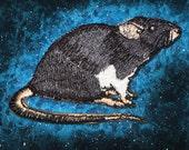 Fancy Black Dumbo Rat  Iron on Patch