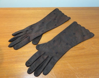 Vintage Gloves- Embroidered Brown Nylon Gloves- Mottled Chocolate Brown- Mid Arm Length- Size 6.5- Shalimar Made in Phillipines