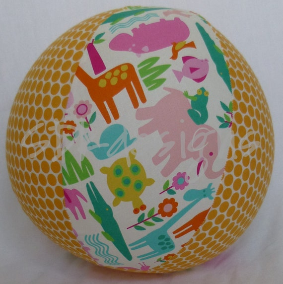 Balloon Ball TOY - Zoo Animals Galore with Orange Polka Dots - As seen with Michelle Obama on Parenting.com