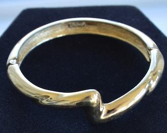 Pretty Vintage Gold tone Clamper Bracelet, Monet