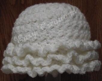 CROCHET PATTERN Ruffled Hat Ripples Ruffles Baby Babies Girl Girls Preemie to 6 mo textured beanie toque skill level intermediate
