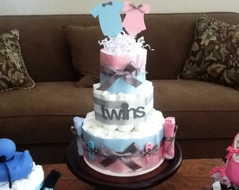 Gender Reveal orTwins Diaper Cake baby shower centerpiece other styles and sizes colors available
