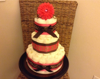 Leopard Diaper cake Baby Shower Centerpiece Gift in other sizes and colors too