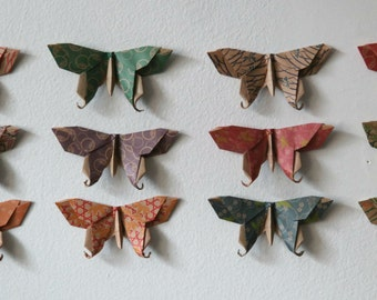 12 Large or 24 Small Origami Swallowtail Butterflies - Chiyogami Print