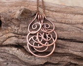 Oxidized. Copper. Spiral. Cluster. Chain. Necklace.