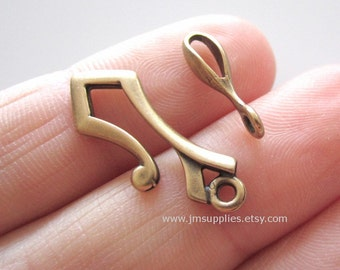 Clasp, JBB Findings, Hook and Eye, Antiqued Brass 26x8.5mm