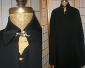 40s black wool gaberdine cape  with neck chain one size fits most