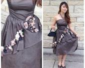 50s black chiffon party / prom dress womens size xsmall