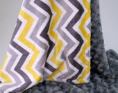Yellow and Gray Chevron Minky Blanket for baby Toddler or Adult