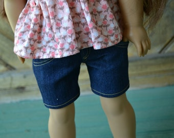 18 inch Doll Clothes - Dark Wash Long Blue Jean Shorts - MADE TO ORDER - fits American Girl