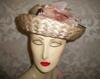 Antique Vintage 40s 50s Hat with silk and velvet flower