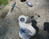 Blue and White Button Flower Bouquet
