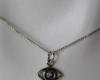 Sterling Silver Small Evil Eye Diamond Pendant