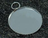 100 pcs 25mm Silver Plated Brass Circle Pendant Trays (19-16-412)