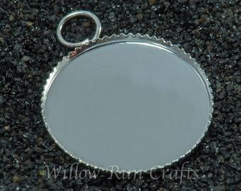 20 pcs 25mm Silver Plated Circle Pendant Trays (Brass)  (19-16-412), Blank Bezel Cabochon Setting