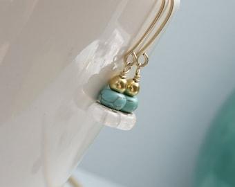 Artisan Gold Dangling Turquoise Stone Earrings