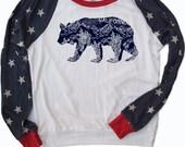 SALE! Womens CALifornia BEAR Eco Slouchy Pullover Alternative Apparel- Limited Print Run