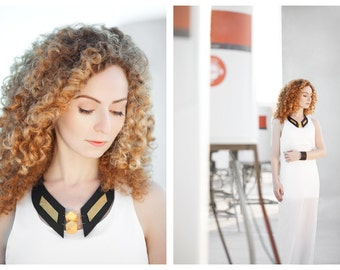 "Leather bib necklace with wood beads  Leather jewelry ""Geometry of Metamorphose"" collection"