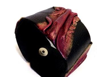 Women's leather bracelet  Cuff bracelet Leather jewelry Wide fashion wristband Leather jewelry Statement jewelry